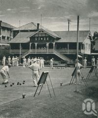 "<span class=""caption-caption"">New Farm bowling club</span>, 1949. <br />Booklet, collection of <span class=""caption-contributor"">John Young</span>."