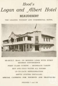 "<span class=""caption-caption"">Hood's Logan and Albert Hotel, Beaudesert</span>. <br />From <span class=""caption-book"">Official Souvenir Beaudesert and National Park Lamington Plateau</span>, <span class=""caption-creator"">Beaudesert Shire Council</span>, Brisbane, 1935, collection of <span class=""caption-contributor"">Centre for the Government of Queensland</span>."
