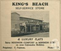 "<span class=""caption-caption"">King's Beach self-service store</span>. <br />From <span class=""caption-book"">Penrod's 150 miles round Brisbane</span>, <span class=""caption-creator"">Penrod Guide Book Company</span>, Brisbane, 1956, collection of <span class=""caption-contributor"">Centre for the Government of Queensland</span>."