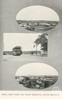 "<span class=""caption-caption"">Views from the West End tram terminus, South Brisbane</span>. <br />From <span class=""caption-book"">The Pocket Brisbane</span>, <span class=""caption-creator"">Queensland Government Intelligence and Tourist Bureau</span>, Brisbane, 1923, collection of <span class=""caption-contributor"">Centre for the Government of Queensland</span>."