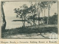 "<span class=""caption-caption"">Margate Beach</span>. <br />From <span class=""caption-book"">Brisbane Bay Resorts</span>, <span class=""caption-creator"">Queensland Government Tourist Bureau</span>, Brisbane, 1933, collection of <span class=""caption-contributor"">Centre for the Government of Queensland</span>."