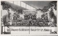"<span class=""caption-caption"">Display of products from the Co-operative Bacon Factory, Murarrie</span>. <br />From <span class=""caption-book"">Queensland Agricultural Journal</span>, 1922, collection of <span class=""caption-contributor"">Fryer Library, UQ</span>."