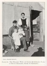 """<span class=""""caption-caption"""">The healthy west, a young Queensland familly at Mount Margaret, South of Eromanga</span>. <br />From <span class=""""caption-book"""">Queensland Agricultural Journal</span>, 1924, collection of <span class=""""caption-contributor"""">Fryer Library, UQ</span>."""