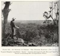 "<span class=""caption-caption"">Typical Brigalow and Belah 'scrub' country interspaced with Box and Sandalwood Forest (overlooking site of experimental plots)</span>. <br />From <span class=""caption-book"">Queensland Agricultural Journal</span>, 1930, collection of <span class=""caption-contributor"">Fryer Library, UQ</span>."