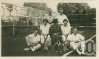 """<span class=""""caption-caption"""">Backyard tennis, the Ridley's place, Clayfield</span>, c1930. <br />Digital image, collection of <span class=""""caption-contributor"""">Megan Young</span>."""