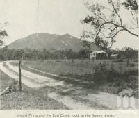 "<span class=""caption-caption"">Mount Pring and the Euri Creek road in the Bowen district</span>, 1940. <br />Newspaper, collection of <span class=""caption-contributor"">John Young</span>."