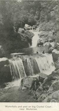 "<span class=""caption-caption"">Waterfalls and pool on Big Crystal Creek near Mutarnee</span>, 1940. <br />Newspaper, collection of <span class=""caption-contributor"">John Young</span>."