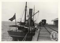 "<span class=""caption-caption"">Federal trawler Endeavour at Gladstone jetty</span>, 1900-1915. <br />Photograph, collection of <span class=""caption-contributor"">JC Smith Collection, Fryer Library, UQ</span>."