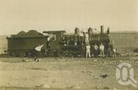 "<span class=""caption-caption"">Hughenden commemoration steam engine with ambulance banner</span>, c1930. <br />Photograph, collection of <span class=""caption-contributor"">Megan Young</span>."