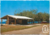 "<span class=""caption-caption"">Log Cabin shelter shed, Woodgate</span>, c1970-2000. <br />Postcard, collection of <span class=""caption-contributor"">Murray Views Collection</span>."