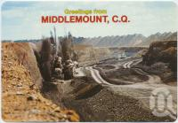 "<span class=""caption-caption"">Blasting of coal seam at German Creek Open Cut Coal Mine, Middlemount</span>, c1970-2000. <br />Postcard, collection of <span class=""caption-contributor"">Murray Views Collection</span>."