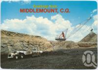 "<span class=""caption-caption"">Dragline and Coal Trucks at German Creek Open Cut Coal Mine, Middlemount</span>, c1970-2000. <br />Postcard, collection of <span class=""caption-contributor"">Murray Views Collection</span>."