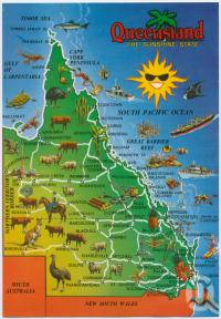 "<span class=""caption-caption"">Map of Queensland</span>, c1970-2000. <br />Postcard, collection of <span class=""caption-contributor"">Murray Views Collection</span>."