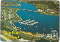 "<span class=""caption-caption"">Aerial view showing the Southport Boat Harbour and Broadwater, Main Beach - Southport, Gold Coast</span>, c1970-2000. <br />Postcard, collection of <span class=""caption-contributor"">Murray Views Collection</span>."