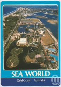 "<span class=""caption-caption"">An aerial of Sea World, looking south to the highrise of Surfers Paradise</span>, c1970-2000. <br />Postcard, collection of <span class=""caption-contributor"">Murray Views Collection</span>."