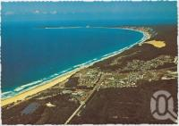"<span class=""caption-caption"">Aerial view of Rainbow Beach looking towards Double Island Point</span>, c1970-2000. <br />Postcard, collection of <span class=""caption-contributor"">Murray Views Collection</span>."