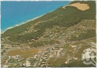 "<span class=""caption-caption"">Aerial view showing the Coloured Sands and Cooloola National Park, Rainbow Beach</span>, c1970-2000. <br />Postcard, collection of <span class=""caption-contributor"">Murray Views Collection</span>."