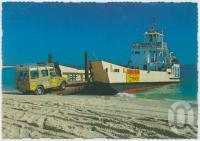 "<span class=""caption-caption"">Rainbow Beach, gateway to Fraser Island, departing from Fraser Island on the ""Tom Welsby""</span>, c1970-2000. <br />Postcard, collection of <span class=""caption-contributor"">Murray Views Collection</span>."