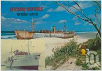 "<span class=""caption-caption"">The ""Cherry Venture"" on Teewah Beach, before and after</span>, c1970-2000. <br />Postcard, collection of <span class=""caption-contributor"">Murray Views Collection</span>."