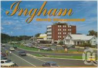"<span class=""caption-caption"">Lannercost Street showing the Memorial Roundabout, Ingham</span>, c1970-2000. <br />Postcard, collection of <span class=""caption-contributor"">Murray Views Collection</span>."