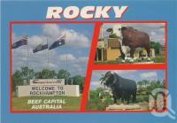 "<span class=""caption-caption"">Rockhampton, beef capital, photograph by Graham Murray</span>, c1984. <br />Postcard by <span class=""caption-publisher"">Murray Views Pty Ltd</span>, collection of <span class=""caption-contributor"">Centre for the Government of Queensland</span>."