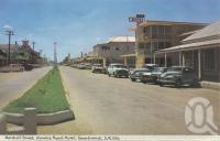 "<span class=""caption-caption"">Marshall Street, showing Royal Hotel, Goondiwindi</span>, 1966. <br />Postcard folder by <span class=""caption-publisher"">Murray Views Pty Ltd</span>, collection of <span class=""caption-contributor"">Centre for the Government of Queensland</span>."
