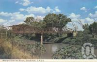 "<span class=""caption-caption"">McIntyre River and bridge, Goondiwindi</span>, 1966. <br />Postcard folder by <span class=""caption-publisher"">Murray Views Pty Ltd</span>, collection of <span class=""caption-contributor"">Centre for the Government of Queensland</span>."