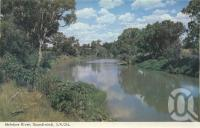 "<span class=""caption-caption"">McIntyre River, Goondiwindi</span>, 1966. <br />Postcard folder by <span class=""caption-publisher"">Murray Views Pty Ltd</span>, collection of <span class=""caption-contributor"">Centre for the Government of Queensland</span>."