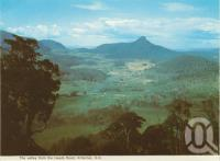 "<span class=""caption-caption"">The valley from the Heads Road, Killarney</span>, 1984. <br />Postcard folder by <span class=""caption-publisher"">Murray Views Pty Ltd</span>, collection of <span class=""caption-contributor"">Centre for the Government of Queensland</span>."