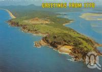"""<span class=""""caption-caption"""">Aerial view, Round Hill, Town of 1770</span>, 1981. <br />Postcard by <span class=""""caption-publisher"""">Murray Views Pty Ltd</span>, collection of <span class=""""caption-contributor"""">Centre for the Government of Queensland</span>."""