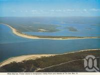 "<span class=""caption-caption"">Wide Bay bar, Fraser Island in foreground, Inskip Point and islands of Tin Can Bay</span>, c1979. <br />Postcard folder by <span class=""caption-publisher"">Murray Views Pty Ltd</span>, collection of <span class=""caption-contributor"">Centre for the Government of Queensland</span>."