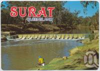 "<span class=""caption-caption"">Fishing at the weir, on the Balonne River, Surat</span>, c1970-2000. <br />Postcard, collection of <span class=""caption-contributor"">Murray Views Collection</span>."