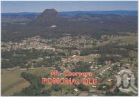 "<span class=""caption-caption"">Pomona with Mt Cooroora, elevation 439 metres, where the ""King of the Mountain Race"" is run each year</span>, c1970-2000. <br />Postcard, collection of <span class=""caption-contributor"">Murray Views Collection</span>."