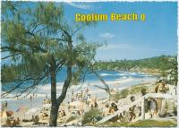 "<span class=""caption-caption"">The surfing beach, looking south toward Wilkinson Park, Coolum Beach</span>, c1970-2000. <br />Postcard, collection of <span class=""caption-contributor"">Murray Views Collection</span>."