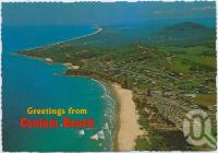 "<span class=""caption-caption"">Aerial view featuring Coolum Beach and Mount Coolum looking south</span>, c1970-2000. <br />Postcard, collection of <span class=""caption-contributor"">Murray Views Collection</span>."